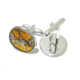 Vintage World Map Cufflinks