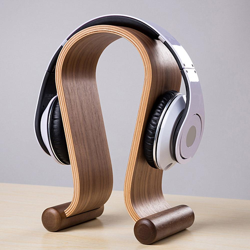 Wooden Omega Headphones Stand Holder