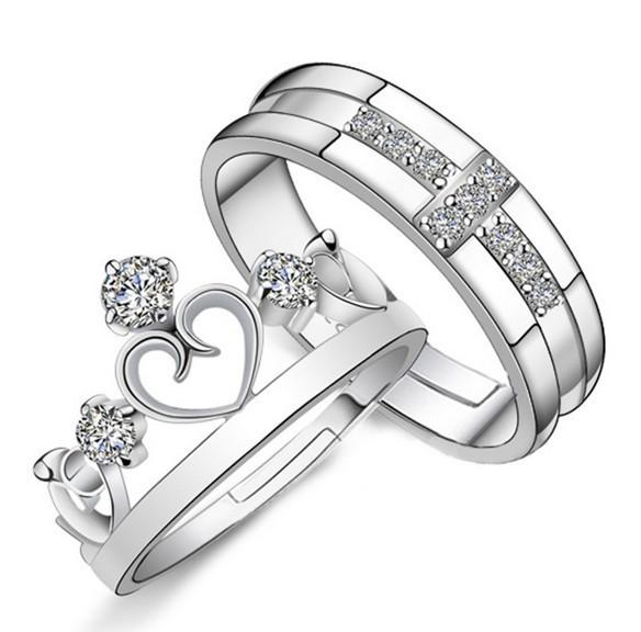 Crown Cross King Queen Adjustable Couples Rings