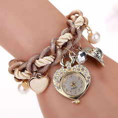 Heart Charm Bracelet Watch