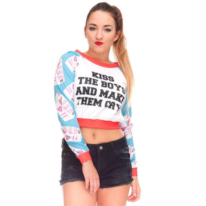 Kiss The Boys Make Them Cry Crop Sweatshirt