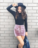 Pink Velvet Lace Up Mini Skirt