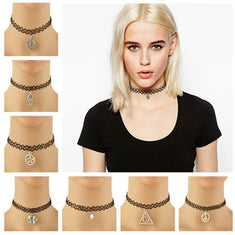 Stretch Tattoo Choker Charm Necklace