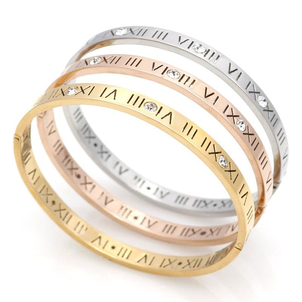 Roman Numerals Pierced Hinged Bangle