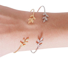 Dainty Olive Leaf Bangle