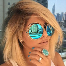 Round Oversized Wire Sunglasses