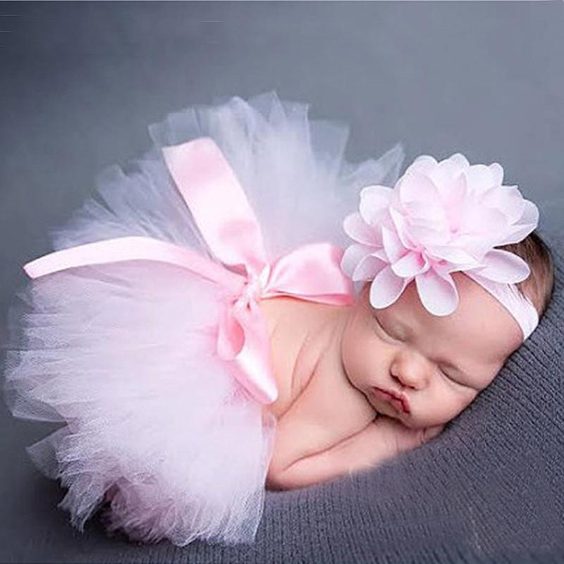 Newborn Baby Tutu Skirt Flower Headband Photo Props