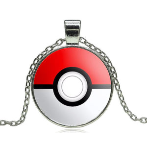 Pokemon Pokeball Glass Pendant Necklace
