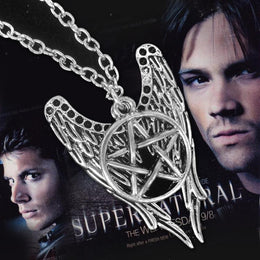 Supernatural Castiel Angel Wings Pentagram Combo Necklace