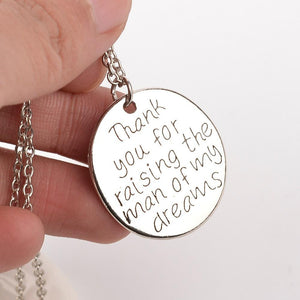 Hand-stamped 'Thank you for raising the man of my dreams' Pendant Necklace