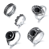 Black and Silver 5-Piece Boho Ring Set