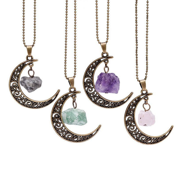 Crescent Moon with Quartz Crystals Necklace
