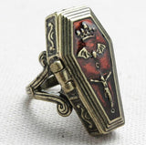 Vampire Coffin Locket Ring