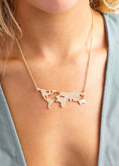 Vintage World Map Necklace