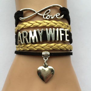 Army Wife Infinity Love Charm Bracelet
