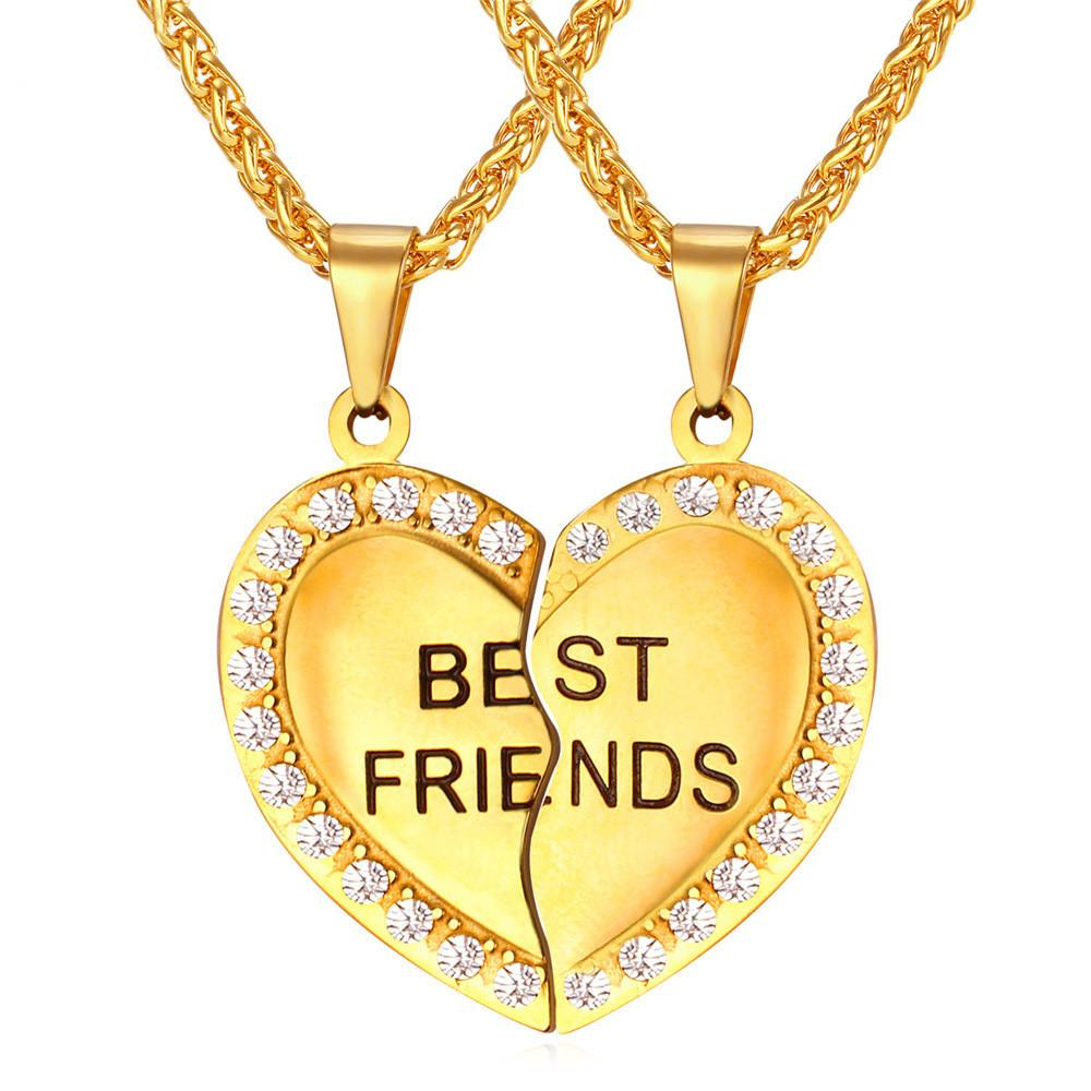 Best friends heart pendant necklace with rhinestone detail iwisb best friends heart pendant necklace with rhinestone detail mozeypictures Choice Image