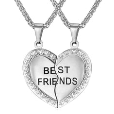 Best Friends Heart Pendant Necklace with Rhinestone Detail