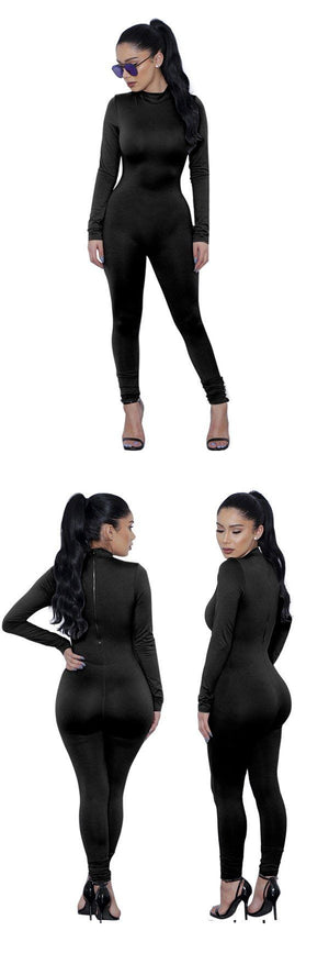 Long Sleeve Bodycon Jumpsuit - Black