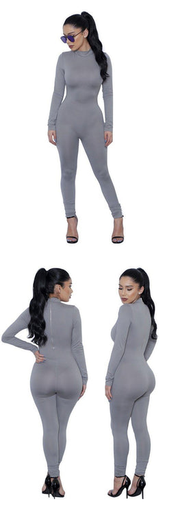 Long Sleeve Bodycon Jumpsuit - Gray