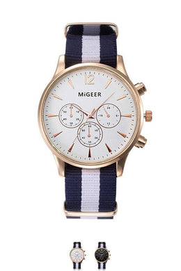 Stripe Canvas Analog Wrist Watch