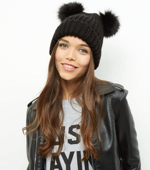 Double Faux Fur Pom Pom Beanie Hat