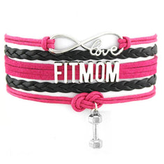 Fit Mom Infinity Love Dumbbell Charm Bracelet