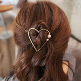 Heart Hair Clip with Pearl Detail