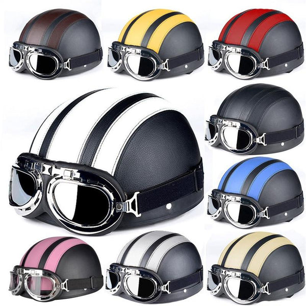 Open Face Retro Helmet with Goggles