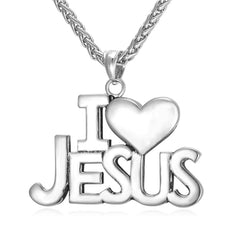 I Love Jesus Pendant Necklace with Heart Detail