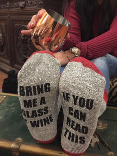 If You Can Read This Bring Me a Glass of Wine or a Beer Novelty Socks