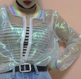 Iridescent Holographic Transparent Jacket