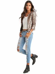 Metallic Geo-patterned Sequin Jacket