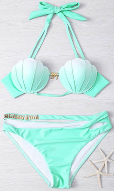 Mermaid Shell Top with Cut-Out Bikini Bottom Set - Mint