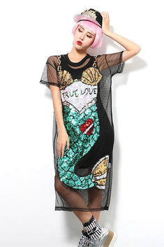 Mermaid Sequin Detailed Mesh Cover-Up Dress