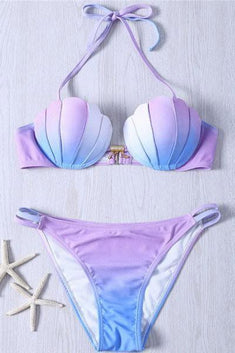 Mermaid Shell Top with Double-String Bikini Bottom Set