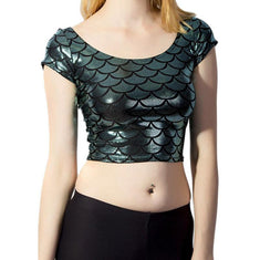 Mermaid Skin Wet-Look Cap Sleeved Crop Top