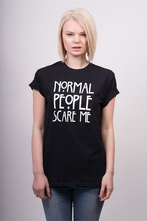 Normal People Scare Me Print Short-Sleeved T-Shirt