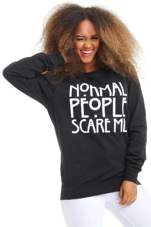 Normal People Scare Me Print Long-Sleeved Sweatshirt