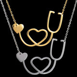 Medical Stethoscope Heart Collar Necklace