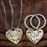 Bonnie and Clyde Necklace and Keychain Set
