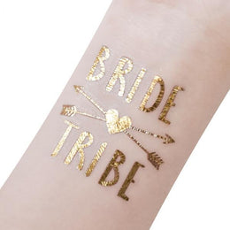 12 Piece Set of Gold Temporary Bachelorette Party Tattoo
