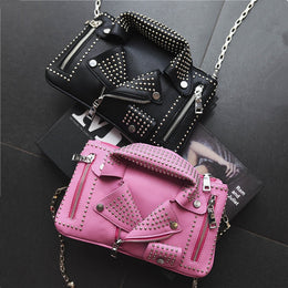 Studded Biker Jacket Design Leather Clutch Bag