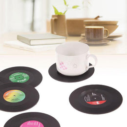 Retro Vinyl Record Coasters - 6pcs Set