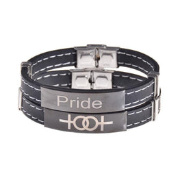Leather Look LGBT Pride Bangle