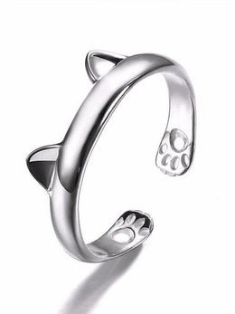 Silver Plated Cat Ears Ring for Women