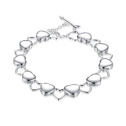 Silver Plated Hearts Bracelet for Women