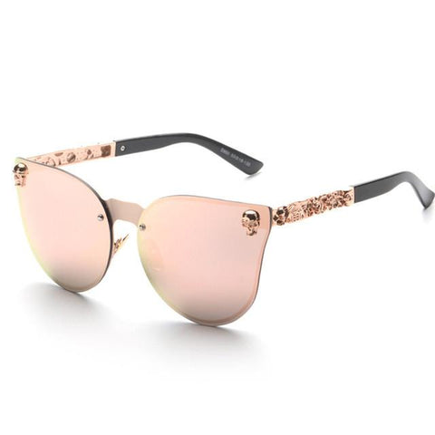 Skull Detailed Cat Eye Mirrored Lens Sunglasses