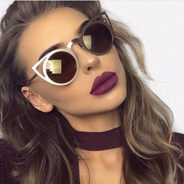 Retro Round Lens Cat Eye Sunglasses