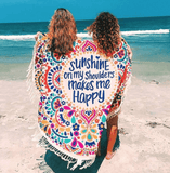 Sunshine on my Shoulders Makes me Happy Round Tapestry