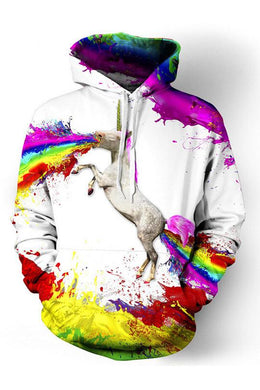 Unicorn Print Long-Sleeved Hoodie